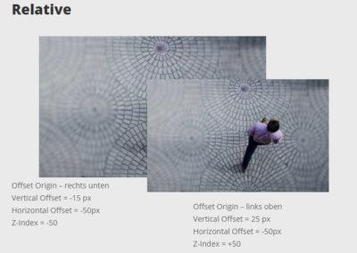 Darstellung der Divi-Funktion Position - Relative mit 2 Bildern eines Mannes, der läuft